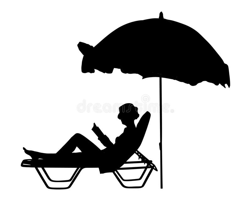 Woman reading a book on the beach silhouette. Young beautiful woman lying down on sun bed sofa lounge chair on holidays. Summer luxury vacation. Woman reading a royalty free illustration
