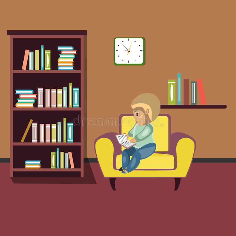 Woman reading book on chair at home. royalty free illustration
