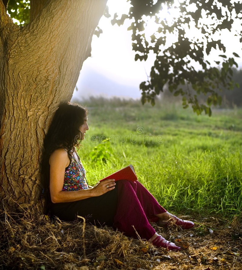 Download Woman Reading Book Under Tree Stock Image - Image: 7056973
