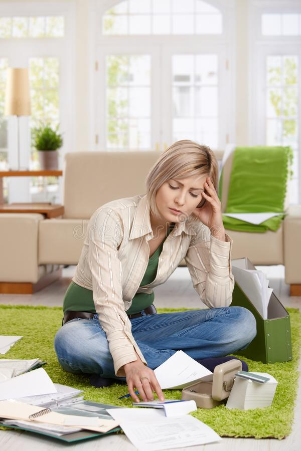 Download Woman reading documents stock photo. Image of cosy, doing - 41198340
