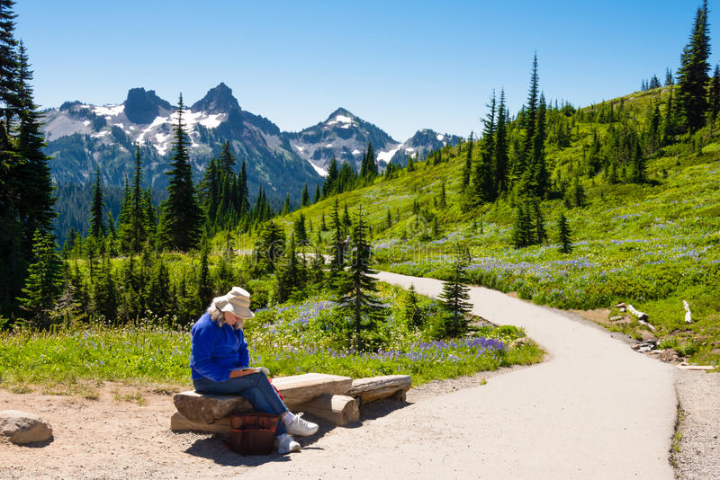 Download Woman Reading in Mountains stock image. Image of blue - 26643393