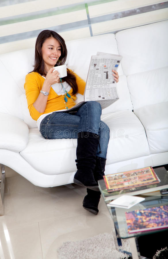 Download Woman Reading The Newspaper Stock Photo - Image: 12835904