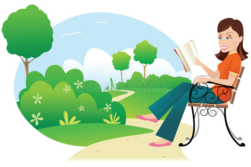 Woman reading in park royalty free illustration