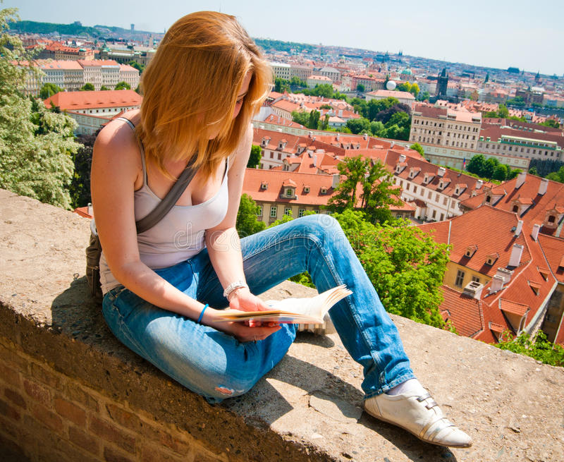 Woman Reading In Prague Stock Images