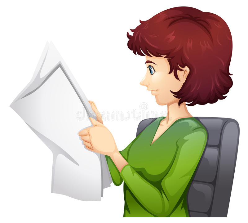 A woman reading a tabloid. Illustration of a woman reading a tabloid on a white background vector illustration