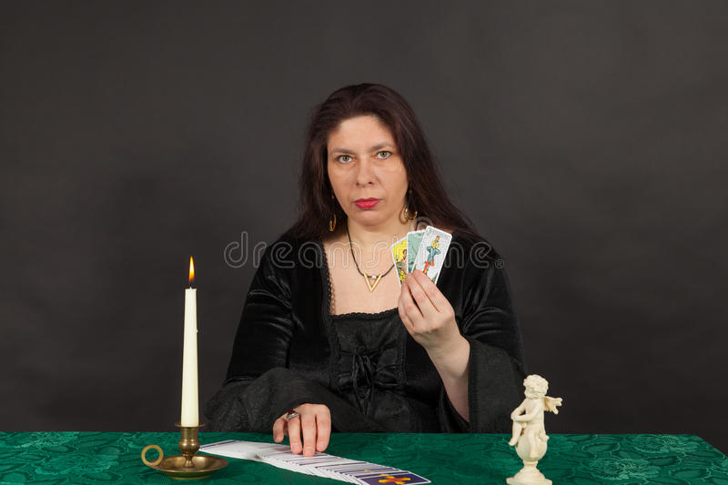 Download A Woman Is Reading Tarot Cards Stock Photo - Image of interpret, teller: 27682638