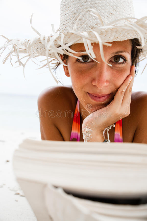 Download Woman Reads A Book On Beach Stock Image - Image of suntan, traveler: 26735805