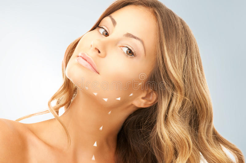 Woman ready for cosmetic surgery royalty free stock photos