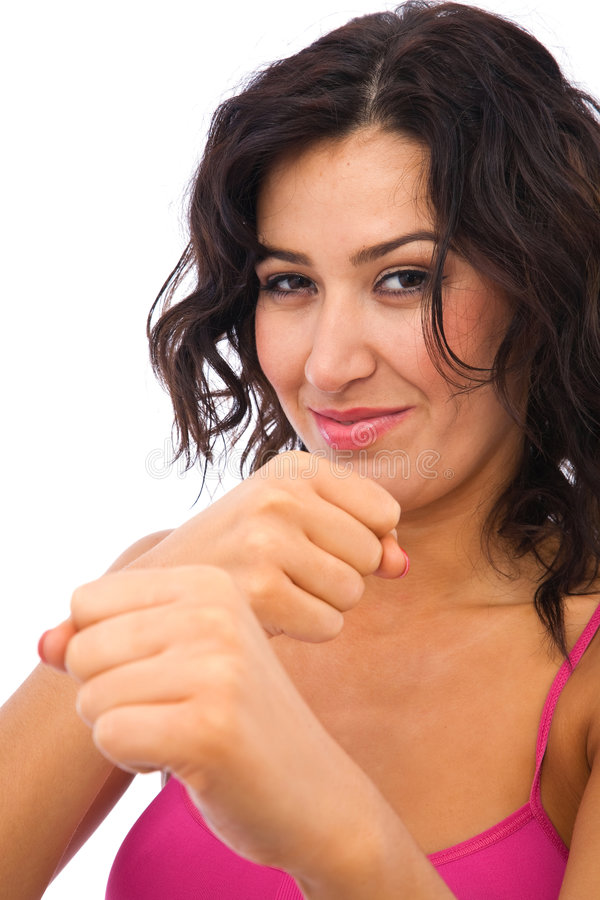 Woman ready for karate royalty free stock image