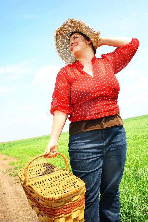 Woman Ready For Picnic Stock Photos