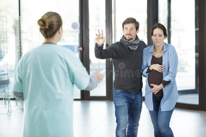 Woman ready to go in labour stock photos