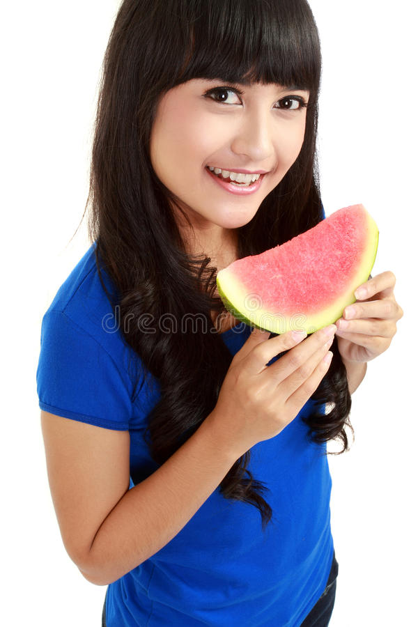 Download Woman  Ready To Take A Bite Out Of Watermelon Royalty Free Stock Image - Image: 21829906
