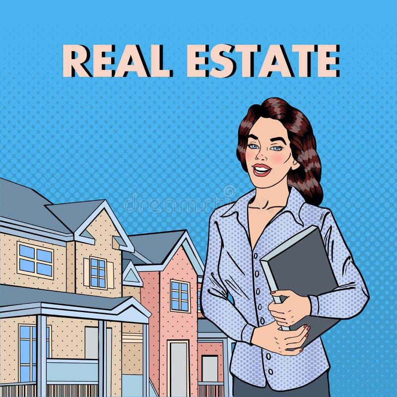 Woman Real Estate Agent. Female Broker Near New House. Pop Art. stock illustration