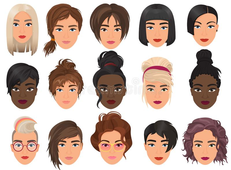 Woman realistic detailed avatar set vector illustration. Beautiful young girls female portrait with different hair style stock illustration