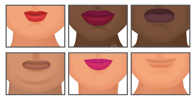 Woman with realistic double fat chin set vector illustration. Woman with realistic double fat chin set vector illustration stock illustration