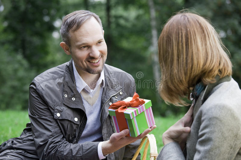 Download Woman receive a gift box stock image. Image of male, emotion - 10899759