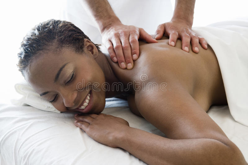 Woman Receiving Back Massage At Spa royalty free stock photo