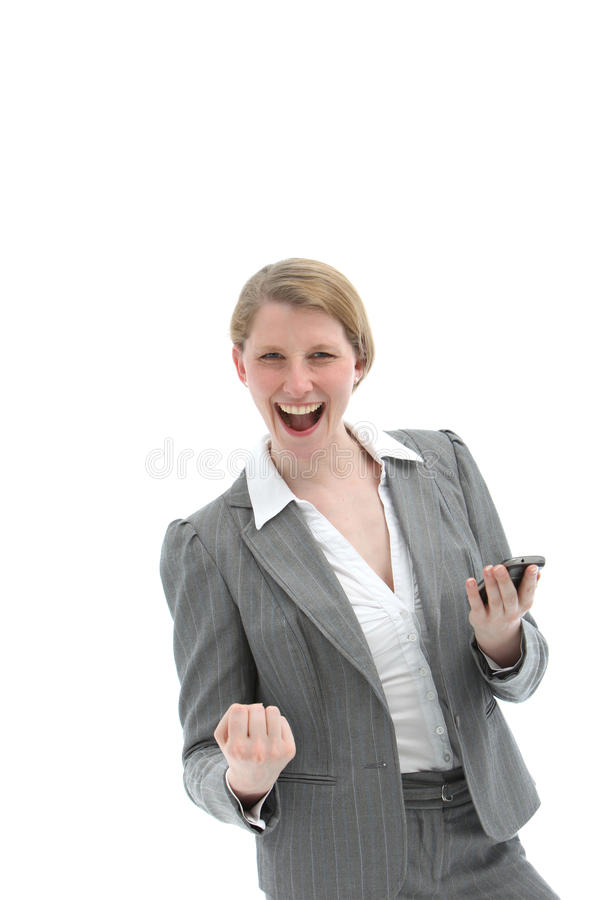 Woman receiving good news on mobile royalty free stock image