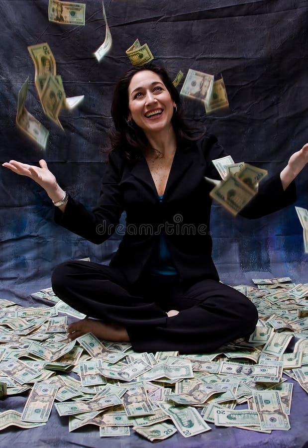 Woman receiving money stock photos