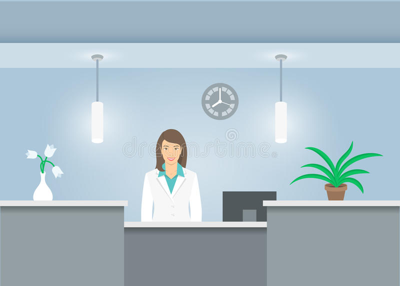 Woman receptionist in medical coat at reception desk in hospital. Woman receptionist in medical coat stands at reception desk in hospital. Front view. Vector stock illustration