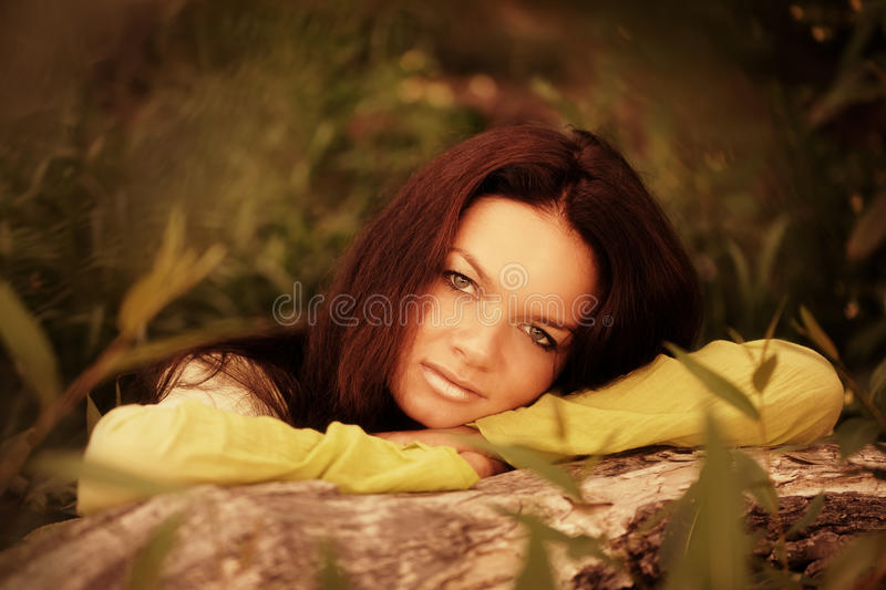 Download Woman recline on tree stock image. Image of model, lonely - 15813383