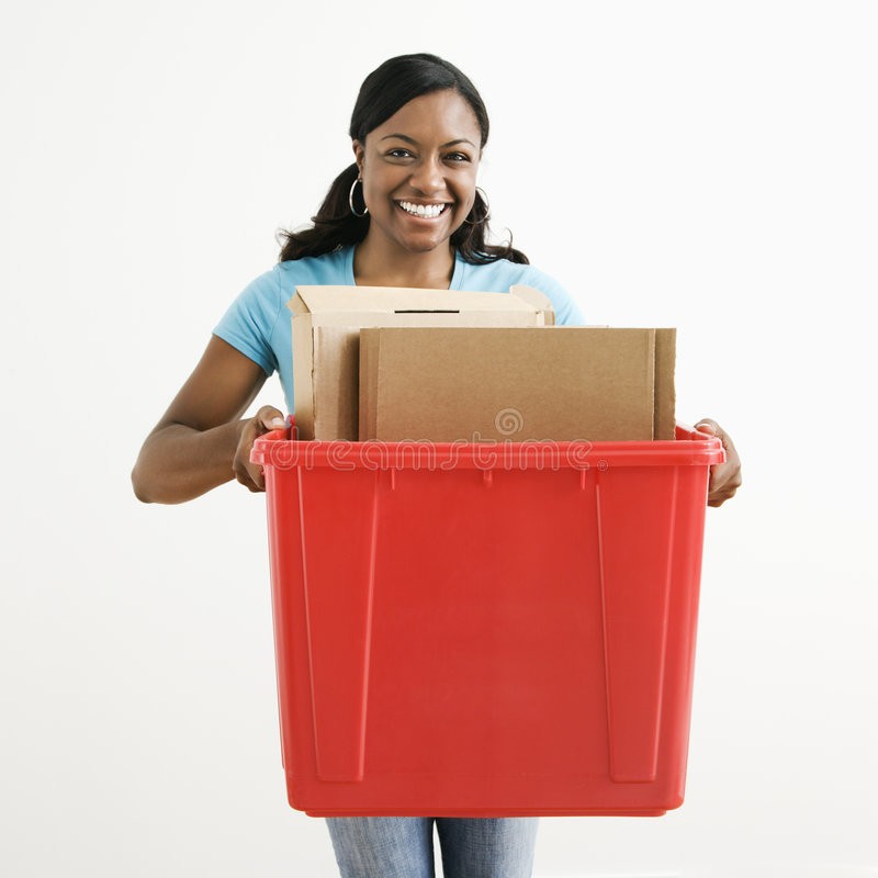 Woman recycling royalty free stock images