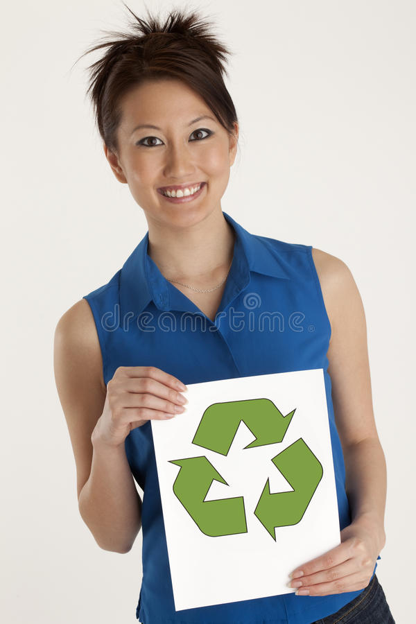 Woman With Recycling Symbol Stock Photography