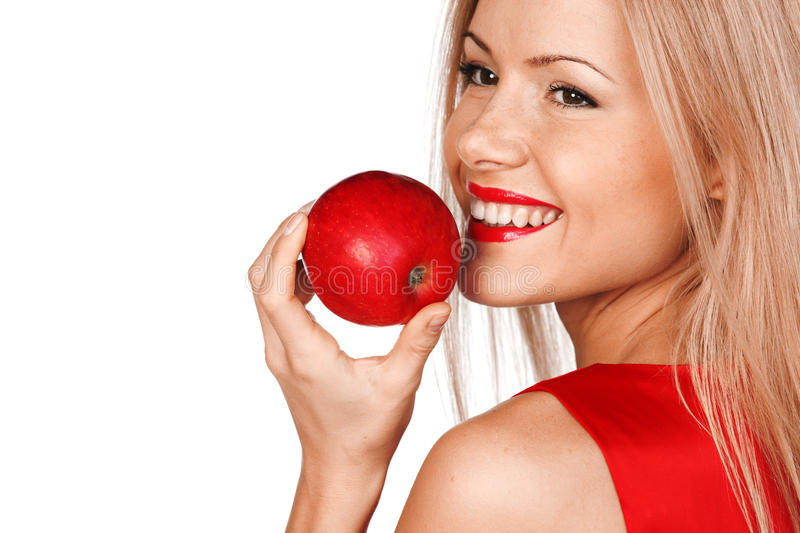 Woman and red apple. Woman eat red apple on white background stock image