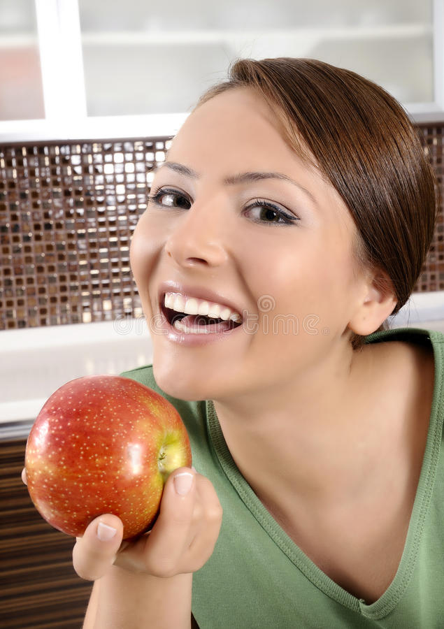 Download Woman with red apple stock image. Image of head, fresh - 21439773