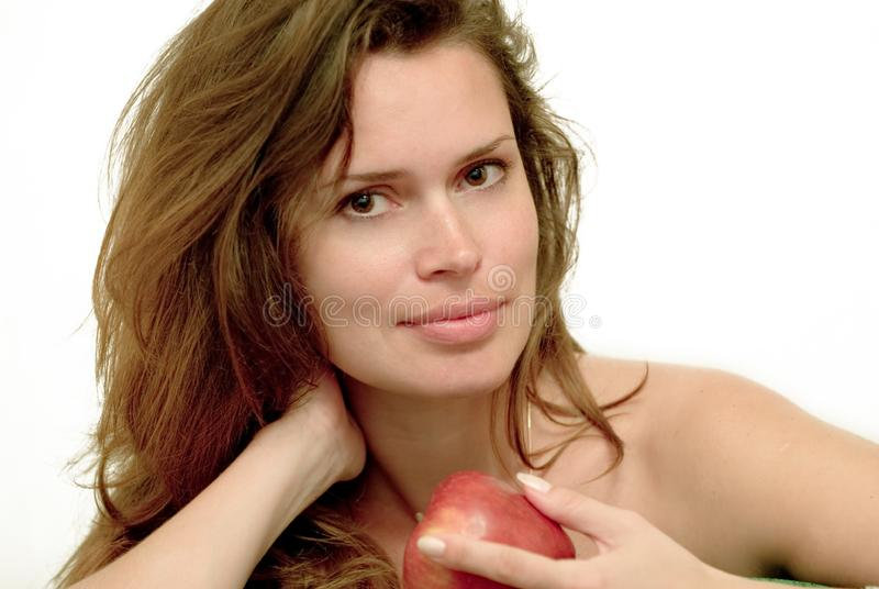 Woman with red apple stock photography