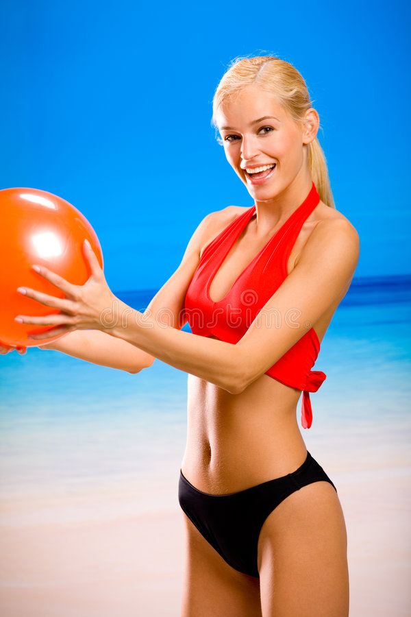 Download Woman With Red Ball Stock Photos - Image: 2592703