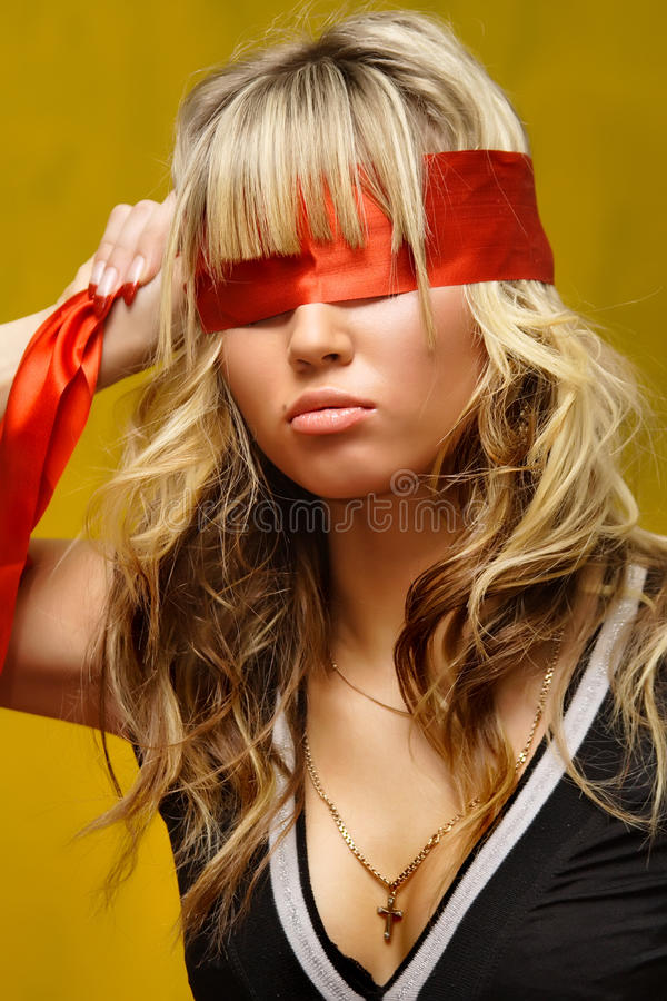 Woman with red bandage stock photo