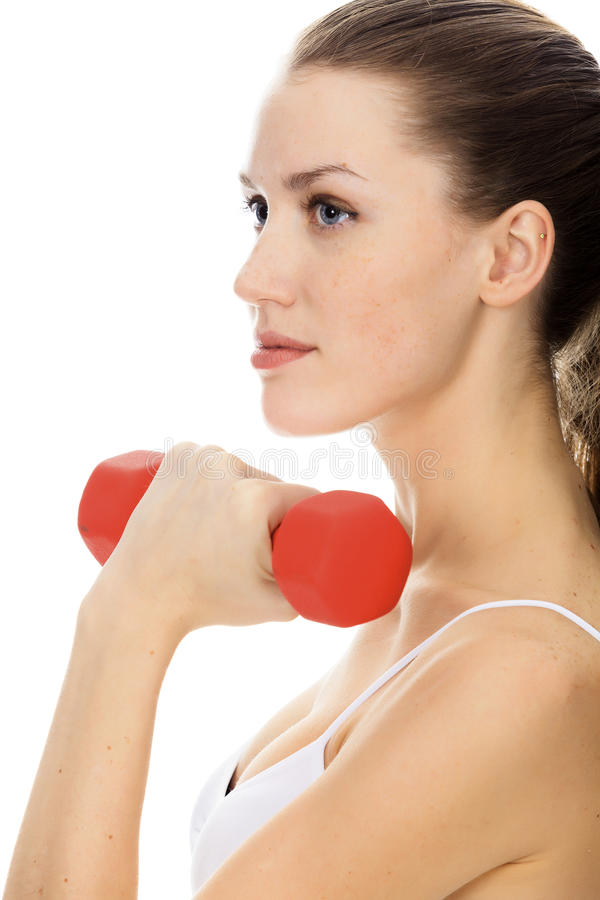 Download Woman with red barbell stock image. Image of lift, health - 22857195