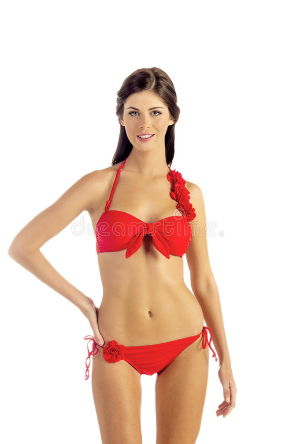 Download Woman in Red Bikini stock photo. Image of brunette, swim - 27556442