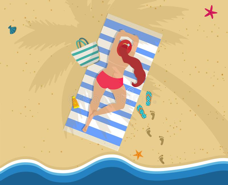 Woman in Red Bikini Lying on Belly at Beach Towel. Top View of Young Woman in Bikini Lying on Belly at Colorful Beach Towel Under Palm Tree. Summer Vacation vector illustration