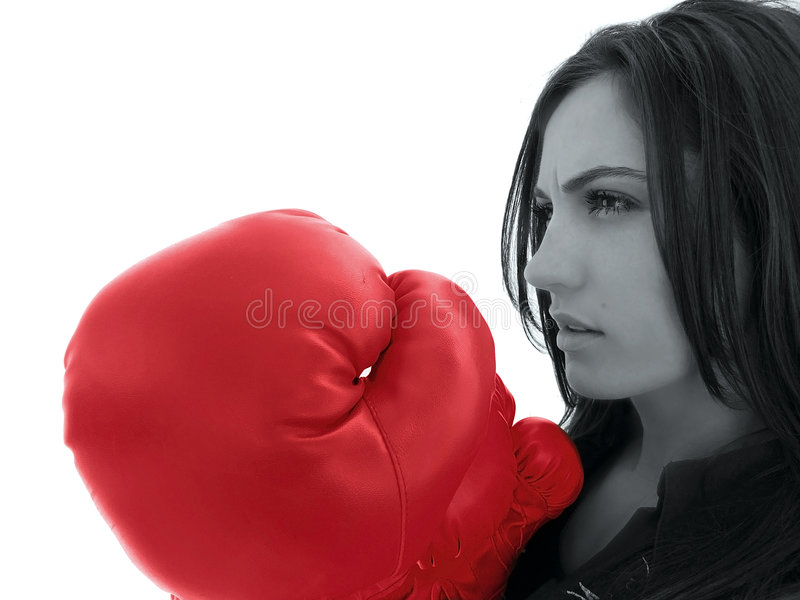 Download Woman With Red Boxing Glove Stock Image - Image: 5090931
