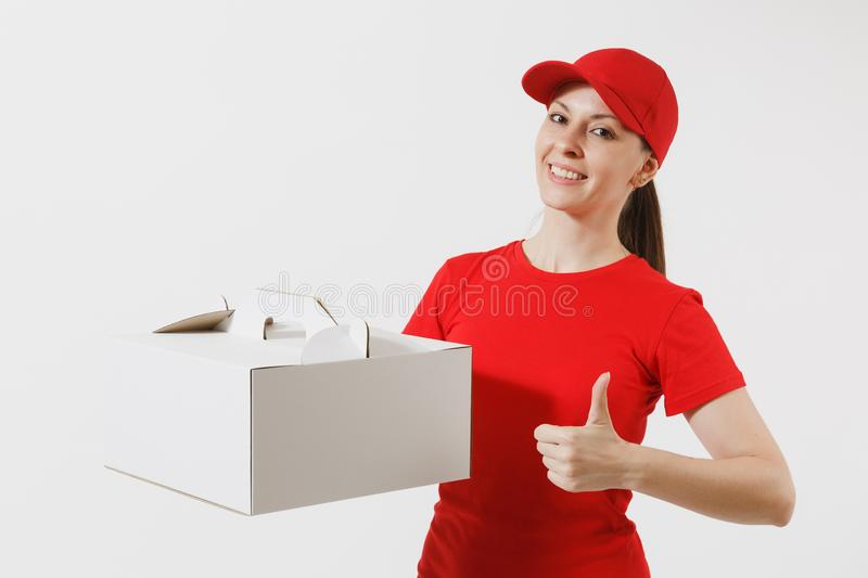 Woman in red cap, t-shirt giving food order cake box isolated on white background. Female courier holding dessert in. Unmarked cardboard box. Delivery service stock photo