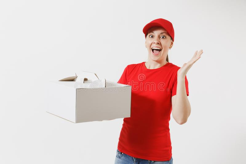 Woman in red cap, t-shirt giving food order cake box isolated on white background. Female courier holding dessert in. Unmarked cardboard box. Delivery service stock photography