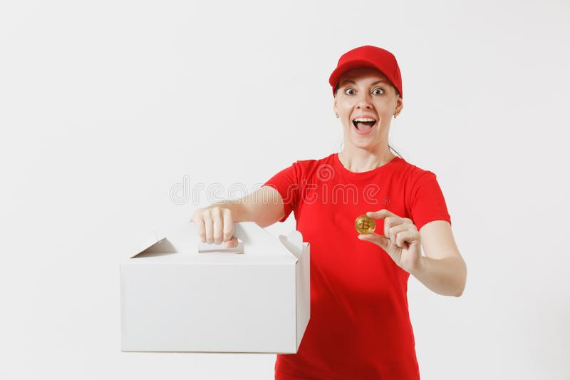 Woman in red cap, t-shirt giving food order cake box isolated on white background. Female courier holding dessert in. Unmarked cardboard box, bitcoin, coin of stock photo