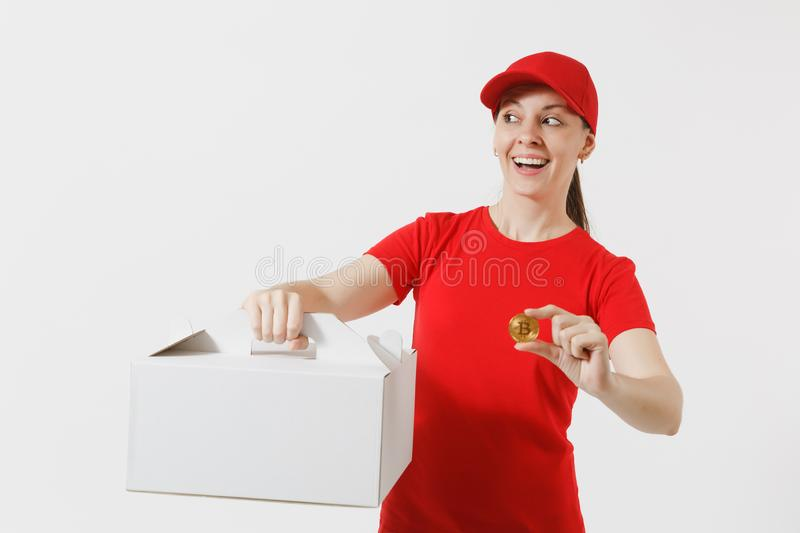 Woman in red cap, t-shirt giving food order cake box isolated on white background. Female courier holding dessert in. Unmarked cardboard box, bitcoin, coin of royalty free stock photo