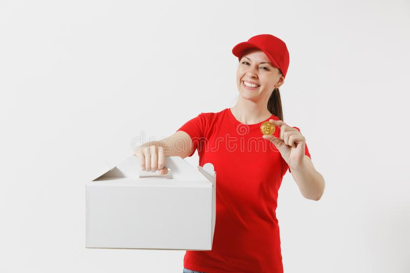 Woman in red cap, t-shirt giving food order cake box isolated on white background. Female courier holding dessert in. Unmarked cardboard box, bitcoin, coin of royalty free stock images