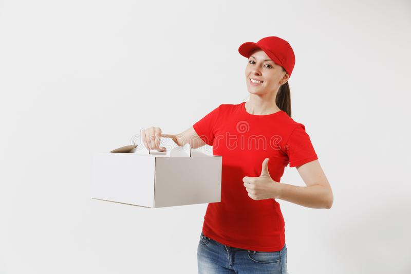 Woman in red cap, t-shirt giving food order cake box isolated on white background. Female courier holding dessert in. Unmarked cardboard box. Delivery service royalty free stock photo
