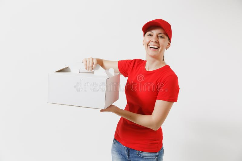 Woman in red cap, t-shirt giving food order cake box isolated on white background. Female courier holding dessert in. Unmarked cardboard box. Delivery service stock photos