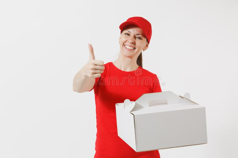 Woman in red cap, t-shirt giving food order cake box isolated on white background. Female courier holding dessert in. Unmarked cardboard box. Delivery service royalty free stock image