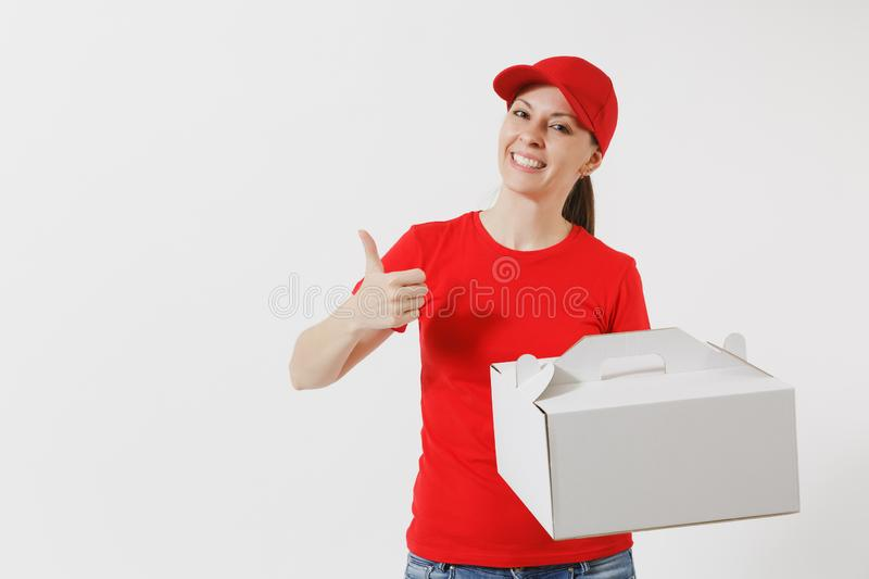 Woman in red cap, t-shirt giving food order cake box isolated on white background. Female courier holding dessert in. Unmarked cardboard box. Delivery service royalty free stock images