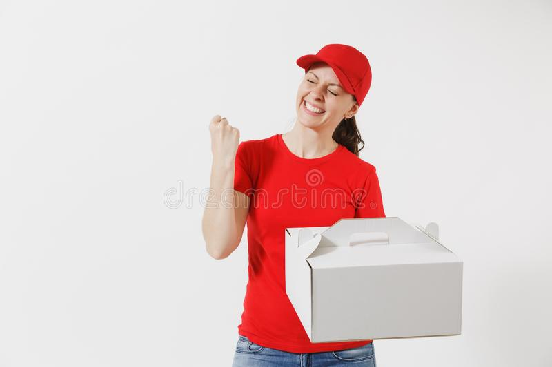 Woman in red cap, t-shirt giving food order cake box isolated on white background. Female courier holding dessert in. Unmarked cardboard box. Delivery service royalty free stock photography