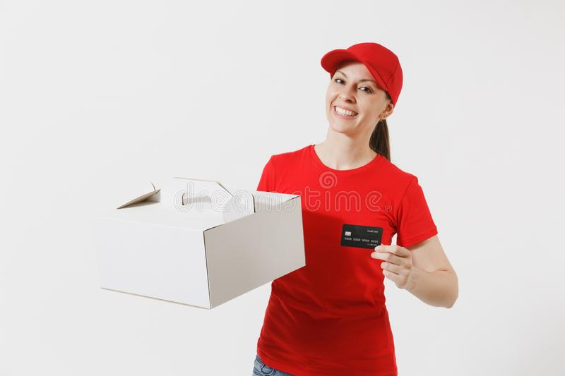 Woman in red cap, t-shirt giving food order cake box isolated on white background. Female courier holding dessert in. Unmarked cardboard box, credit card royalty free stock images