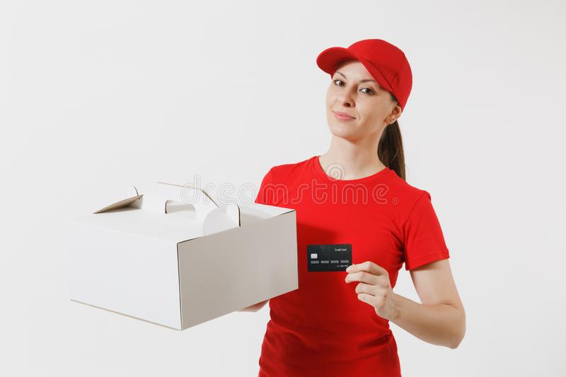 Woman in red cap, t-shirt giving food order cake box isolated on white background. Female courier holding dessert in. Unmarked cardboard box, credit card royalty free stock image