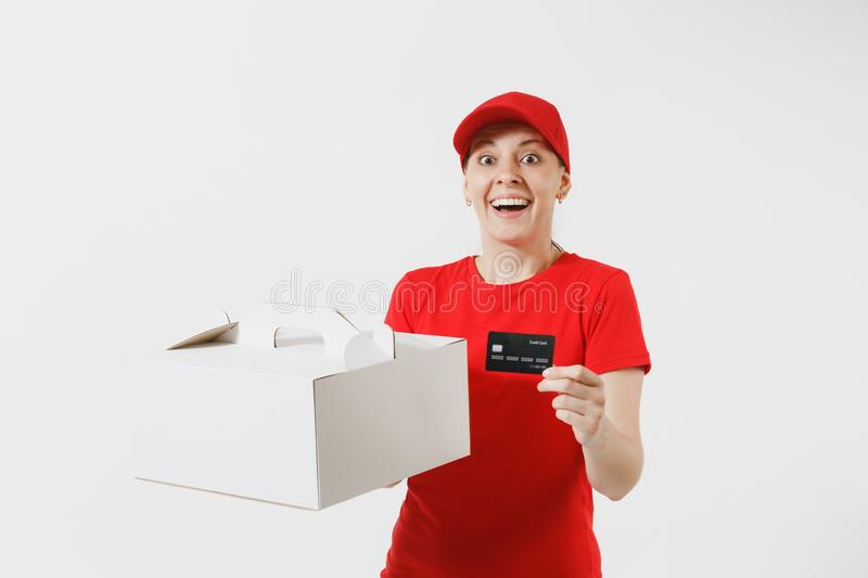 Woman in red cap, t-shirt giving food order cake box isolated on white background. Female courier holding dessert in. Unmarked cardboard box, credit card stock photography
