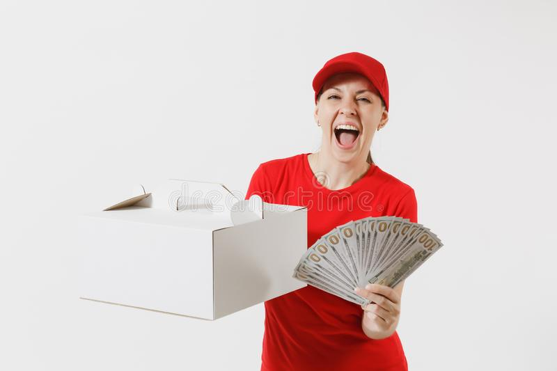 Woman in red cap, t-shirt giving food order cake box isolated on white background. Female courier holding dessert in. Unmarked cardboard box, bundle of dollars royalty free stock images